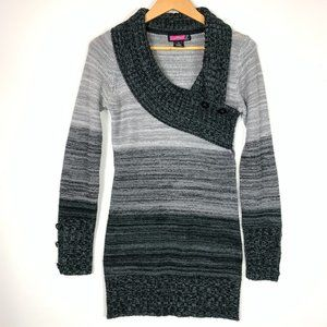 Say What Ombre Gray Long Sleeve Long Sweater Med